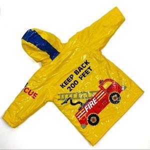 Driplets Kids Yellow Fire Chief Rain Coat